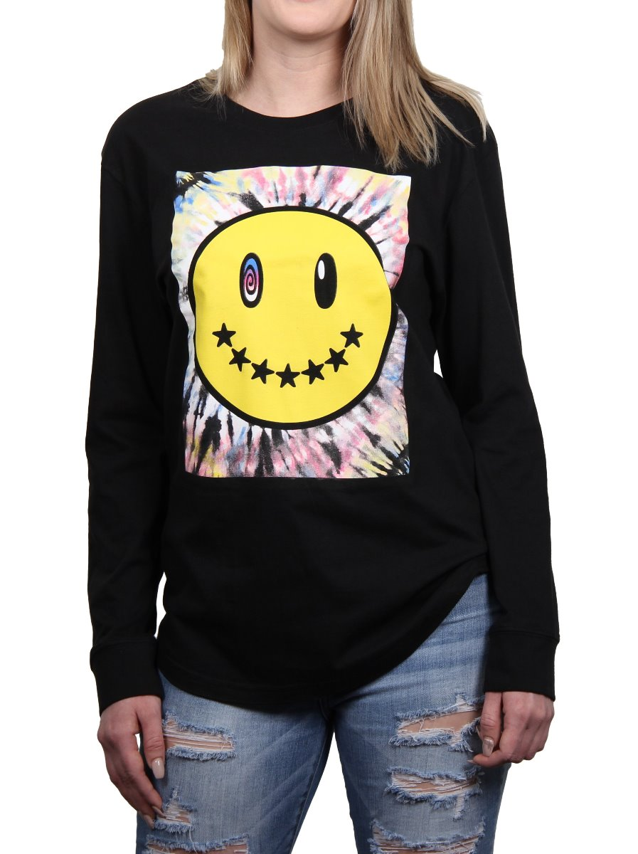 TRIPPY SMILE LONG SLEEVE CREW NECK TEE