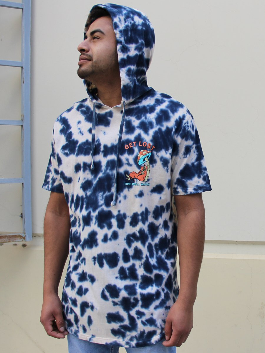 TIME WASTED BLEACH TIE DYE PULLOVER HOODIE  SKU: W2486-0674BW