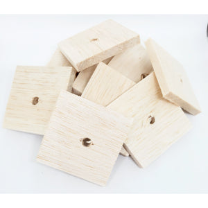 "Balsa Natural 1/4""x 2"" x 2"" with 1/4"" hole - BULK"
