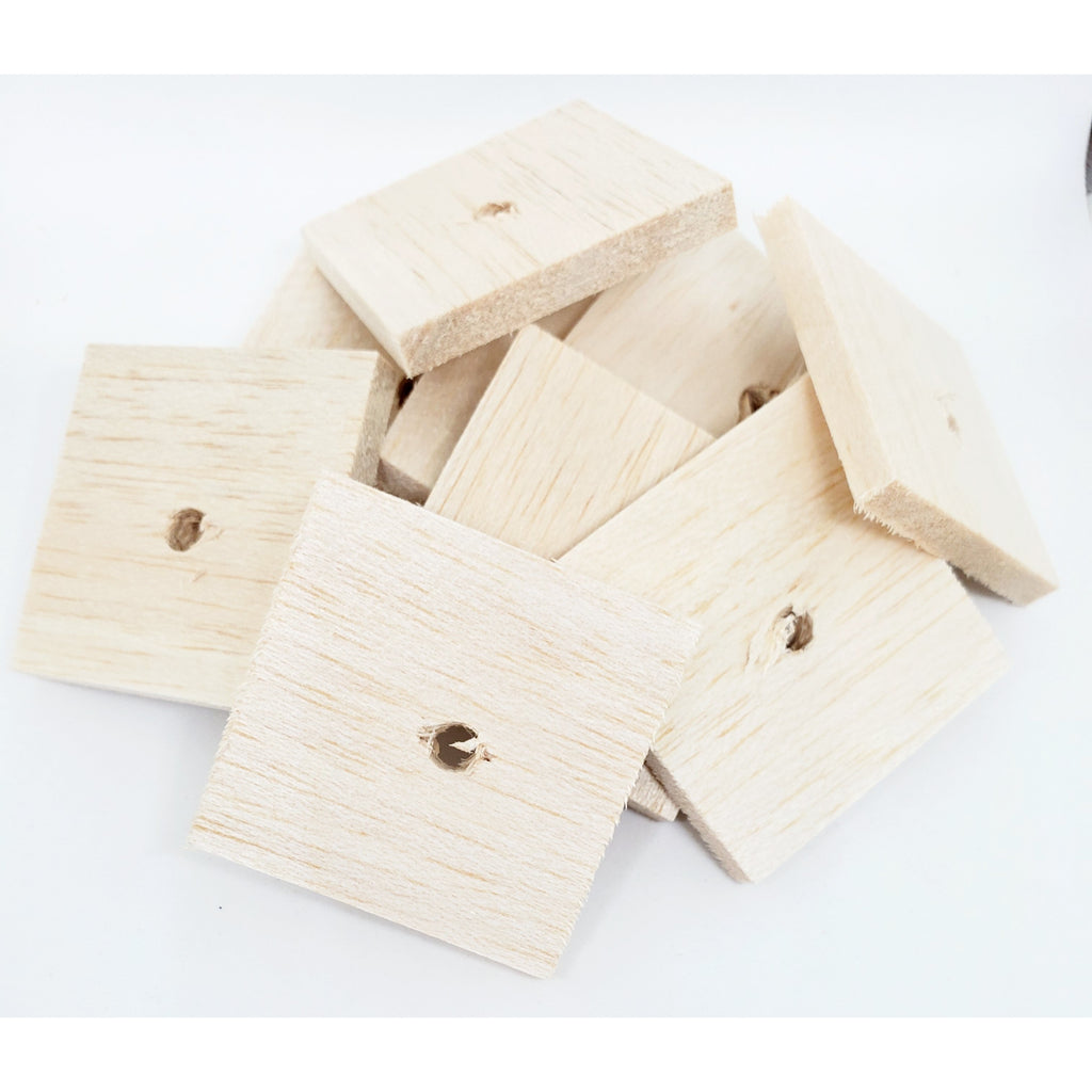 "Balsa Natural 1/4""x 2"" x 2"" with 1/4"" hole"