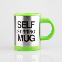 neon green coffee cup self stirring