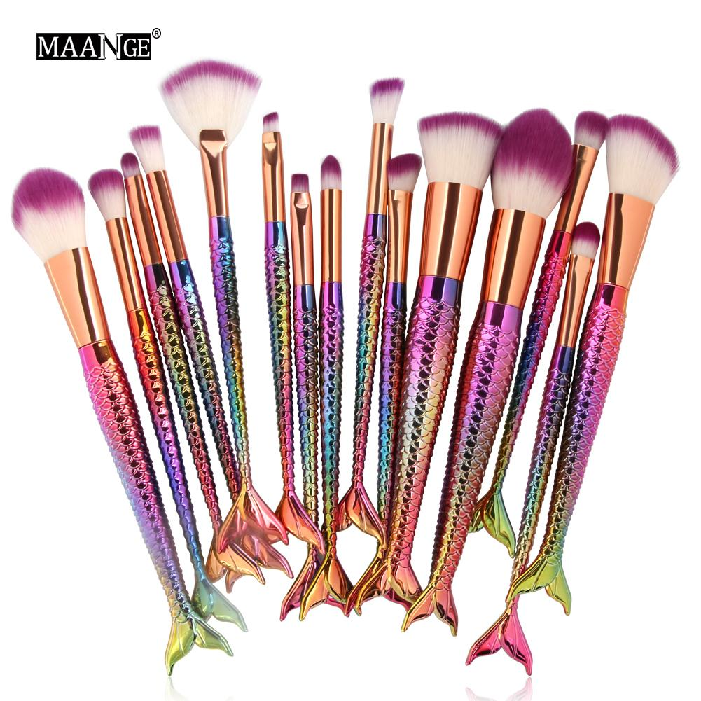 mermaid multi colour brushes 15 piece front