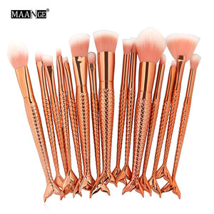 15 piece rose gold mermaid brushes