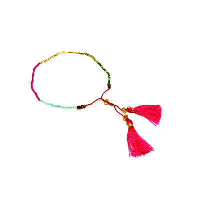 Fun colorful beachy tassel bracelet