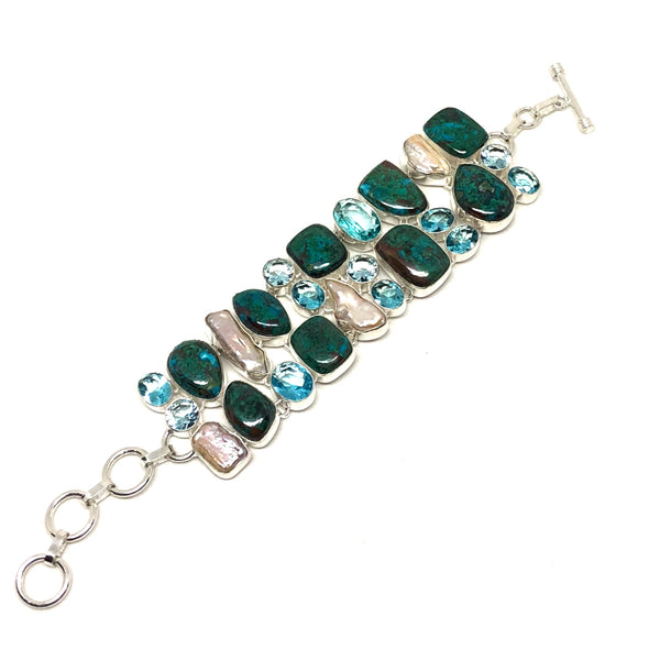 Chrysocolla Azurite Malachite with Blue Topaz and Pearl Bracelet in Sterling Silver