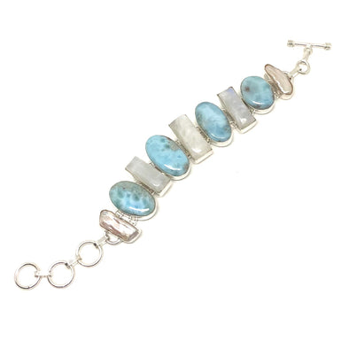 Crisp Caribbean Larimar with Moonstone and Freshwater Pearl Bracelet in Sterling Silver