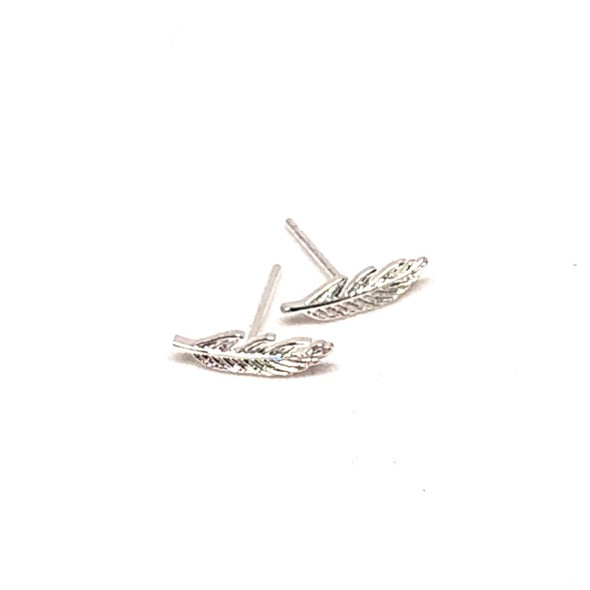 Bohemian Feather Stud Earring Silver