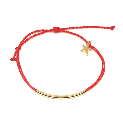 Handmade Gold Tube Bracelet in Tomato