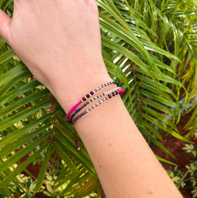 Handmade Multi Strand Beaded Bracelet in Haute Pink