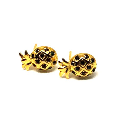 Pineapple Stud Earrings Dripping in Gold over Sterling Silver