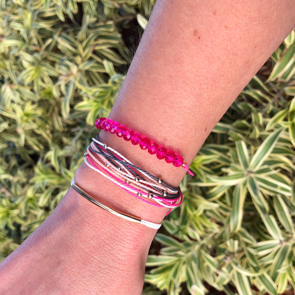 Handmade Pink Punch Bracelets Set of 3