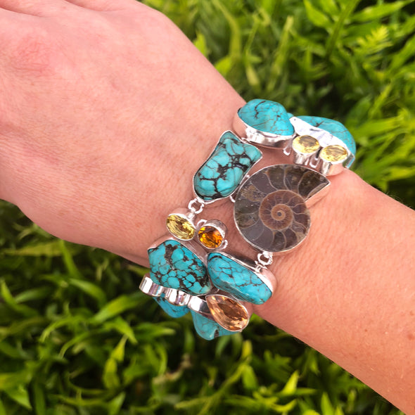 Magnificent Madagascar Ammonite Fossil, Turquoise Nuggets and Citrine Bracelet in Sterling Silver