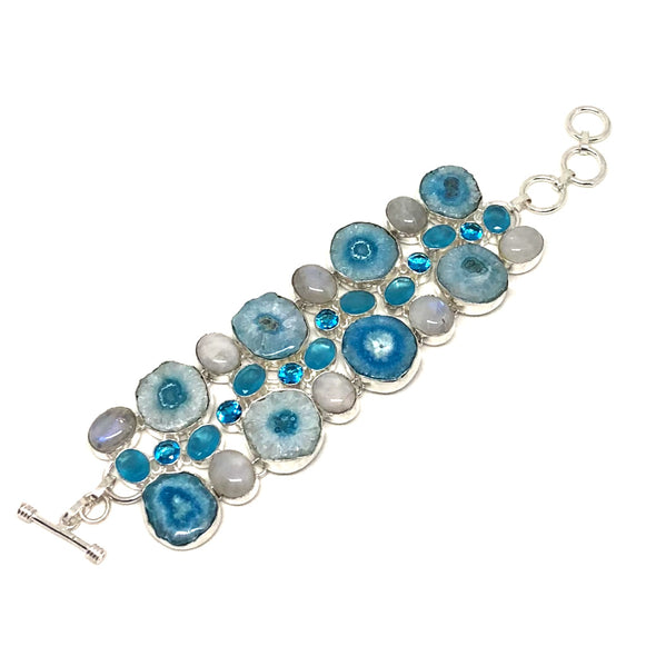 Stunning Stalactite with Moonstone and Blue Topaz Bracelet in Sterling Silver