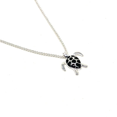Swimming Sea Turtle Necklace in Sterling Silver