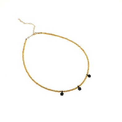 Three Flower Choker Necklace in 14k Gold Over Sterling Silver