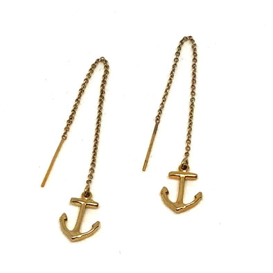 Adorable Anchor Threader Drop Earrings in 14k Plate Over Sterling Silver