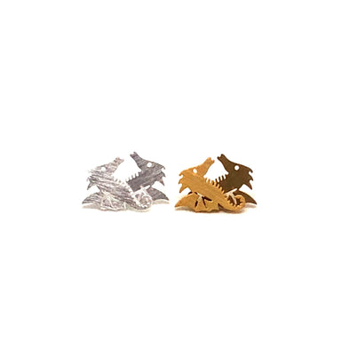 These Sea Dragon Seahorse Stud Earrings are seriously awesome. These earrings come in either a brushed silver or gold plated finish.