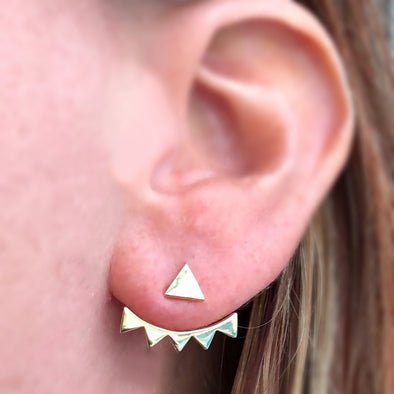 Power Triangle with Multi-triangle Jacket Earrings in Sterling Silver with 14k Plated Gold
