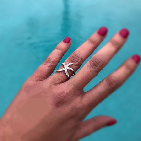 Starfish Ring in Sterling Silver Plated Finish