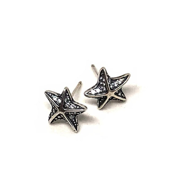 Starfish Stud Sparkle Earrings in Sterling Silver