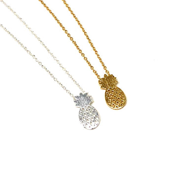 Pineapple Necklace in Silver Plate or Gold Finish