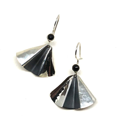 Flutter Onyx Hammered Drop Earrings with Dark Accent in Sterling Silver