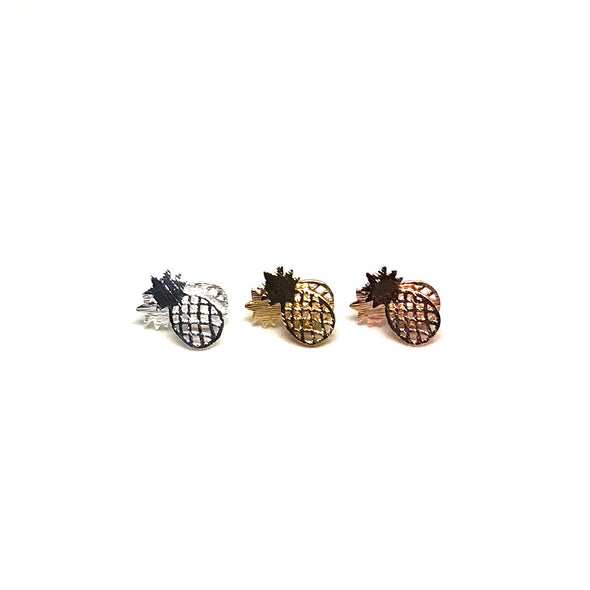 Happy Vacation Pineapple Stud Earrings in Multi Stainless Steel Finishes