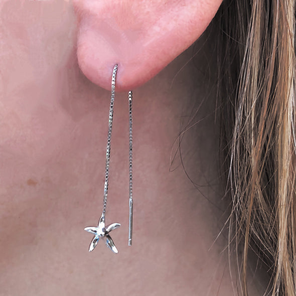 Stunning Starfish Threader Earrings in Sterling Silver