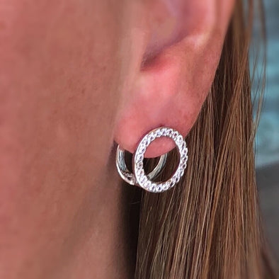 Infinite Possibilities Double Circle Earrings in Platinum Plate