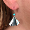 Flutter Turquoise Hammered Drop Earrings with Dark Accent in Sterling Silver