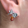 Sweet Little Hummingbird Flower Earrings With Dangling Amber and Agate Beads in Sterling Silver