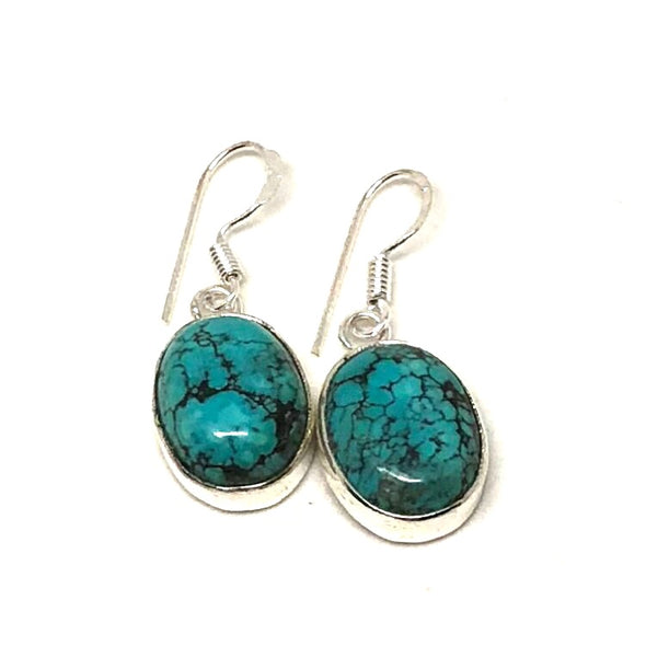 Beautiful Blue Turquoise Drop Earrings in Sterling Silver