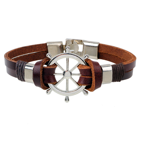 Nautical Style Brown Leather Bracelet