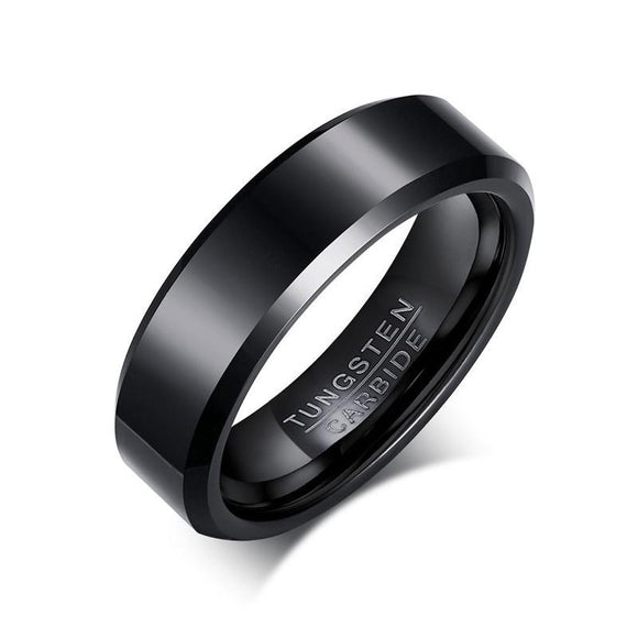 Solid Black Tungsten Men Ring