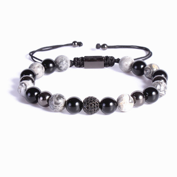 Black 8mm Gemstones Macrame Bracelet