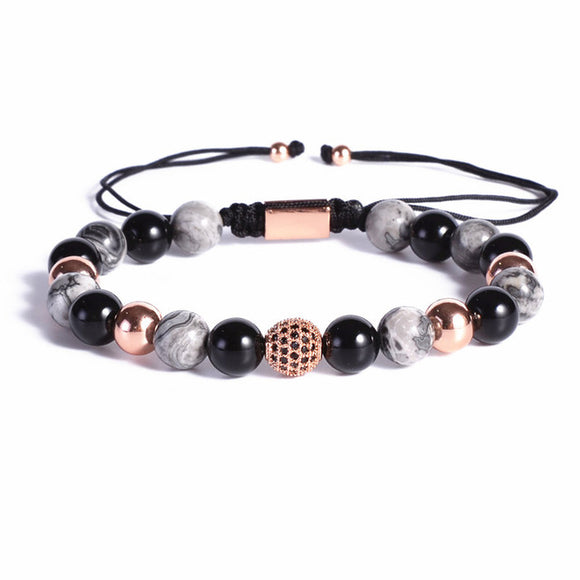 Rose Gold 8mm Gemstones Macrame Bracelet