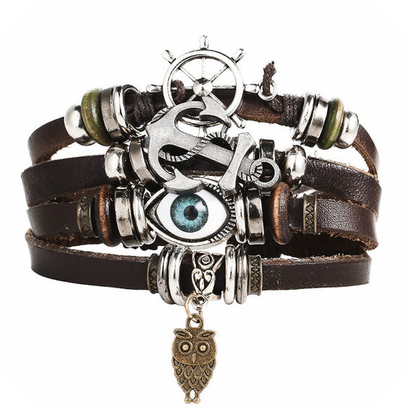 Eye and Anchor Leather Bracelet