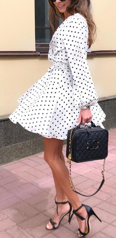 3f3b1f309 White and black polka dot seems to be the most popular color combination  for a day dress.