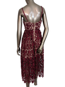 Aqua Burgundy Cami Midi Lace Dress