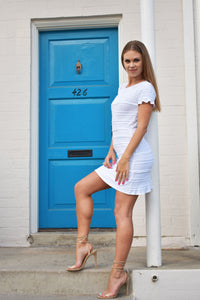 BCBG Max Azria Libby Jacquard White Mini Kinit Dress