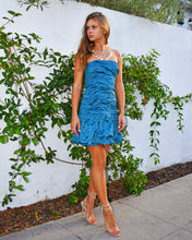 BCBG Max Azria Taffeta Ruched Blue Dress