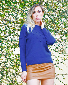 Flaricent Blue Cobalt Pom Pom Long Sleeves Sweater