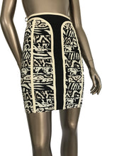 Herve Leger Cynthia Black Ivory Pencil Bandage Skirt