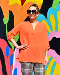 Diane von Furstenberg DVF Coralline 100% Cotton Orange Shirt