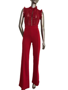 Flaricent Clothing Red Sleeveless Ruffle Detail Jumpsuit