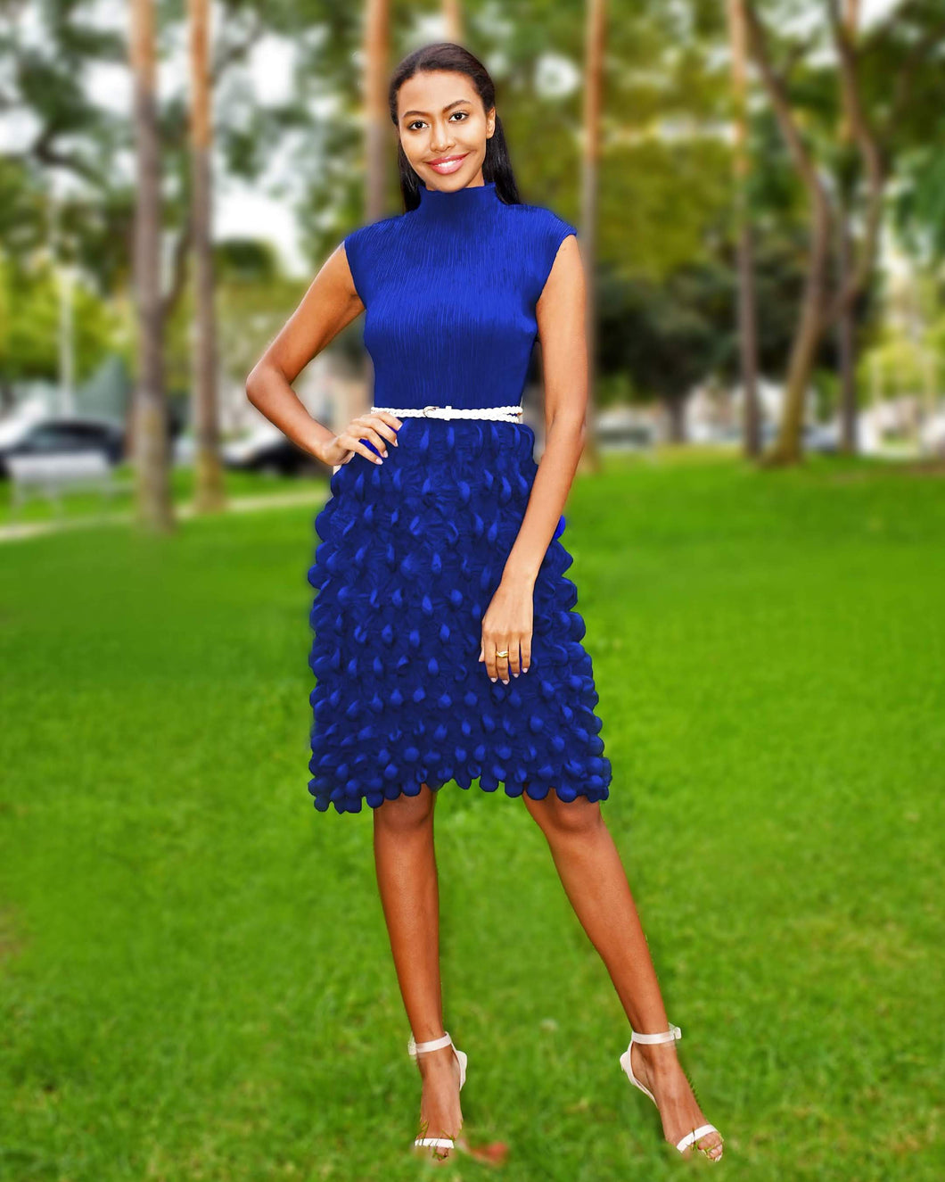 Flaricent Pleated Cobalt Blue Sleeveless Midi Dress