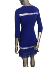 Flaricent 100% Wool Cobalt Blue Ruffle Chiffon Detail Dress