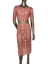 For Love And Lemons Lace Pink Midi Illusion Dress