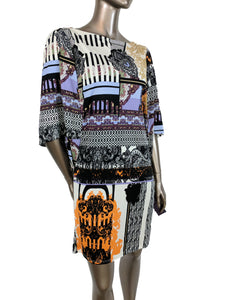Hale Bob 100% silk jersey abstract print dress