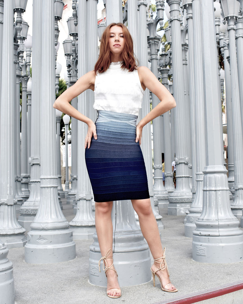 Herve Leger Abbey Ombre Bandage Skirt Pacific Blue Combo skirt